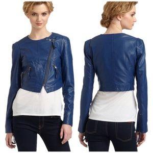FREE PEOPLE Vegan Leather Moto Jacket Blue {J47}